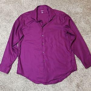 Calvin Klein Button Up Dress Shirt Purple Slim Fit